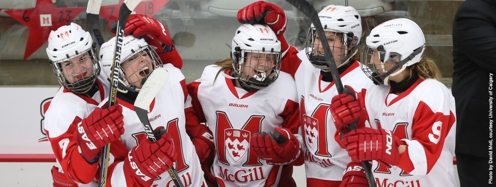Teammates congratulate Gabrielle Davidson (centre) after scoring winning goal against St.FX